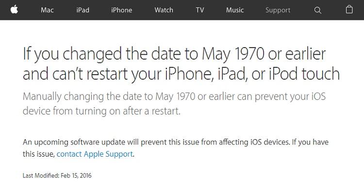 iPhoneの「1970年1月1日」問題、ソフトウェア更新で解消へ